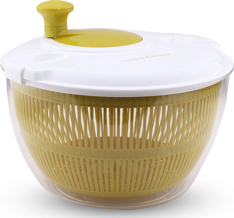 Utopia Kitchen Salad Spinner - Salad Tosser and Mixer - Vegetable Dryer - Easy Spin - 5.5 Quart