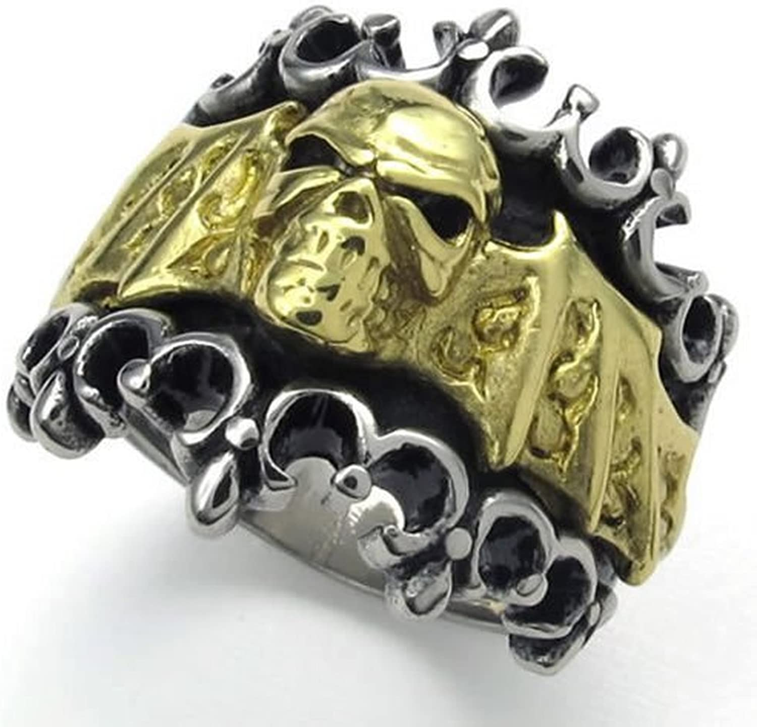 CLJSTORE Jewelry Vintage Stainless Steel Bat Skull Biker Mens Ring Color Gold Silver Black