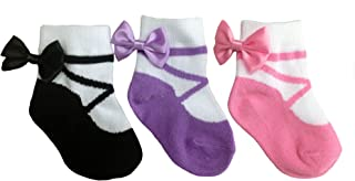 Baby Emporio - Baby & Infant Girl Socks - Cotton - Anti Slip - Gift Bag - 0-9 M - 3 Pairs (0-9 Months, BALLERINAS)
