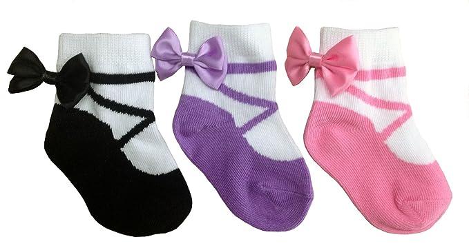 Baby Emporio 3 pares de calcetines para bebé niña - Suelas antideslizantes - Algodón suave - Cajita regalo - Efecto zapatos - 0-12 meses: Amazon.es: Ropa y ...