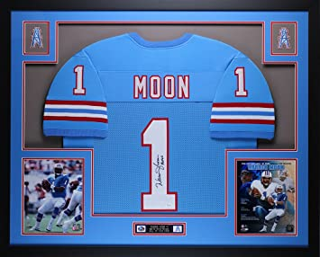 Warren Moon Autographed Blue Oilers Jersey - Beautifully Matted and Framed  - Hand Signed By Warren 68bbc7431