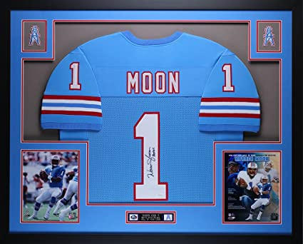 brand new f85ca 9cc82 Warren Moon Autographed Blue Oilers Jersey - Beautifully ...