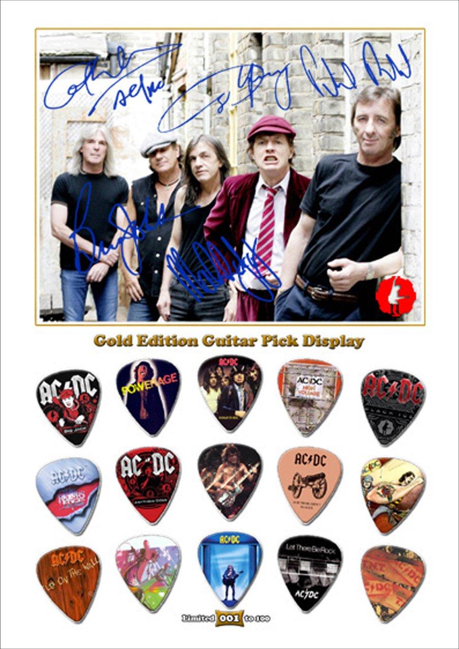 AC/DC New Gold Edition Gitarre Plektrum Display With 15 Gitarre ...