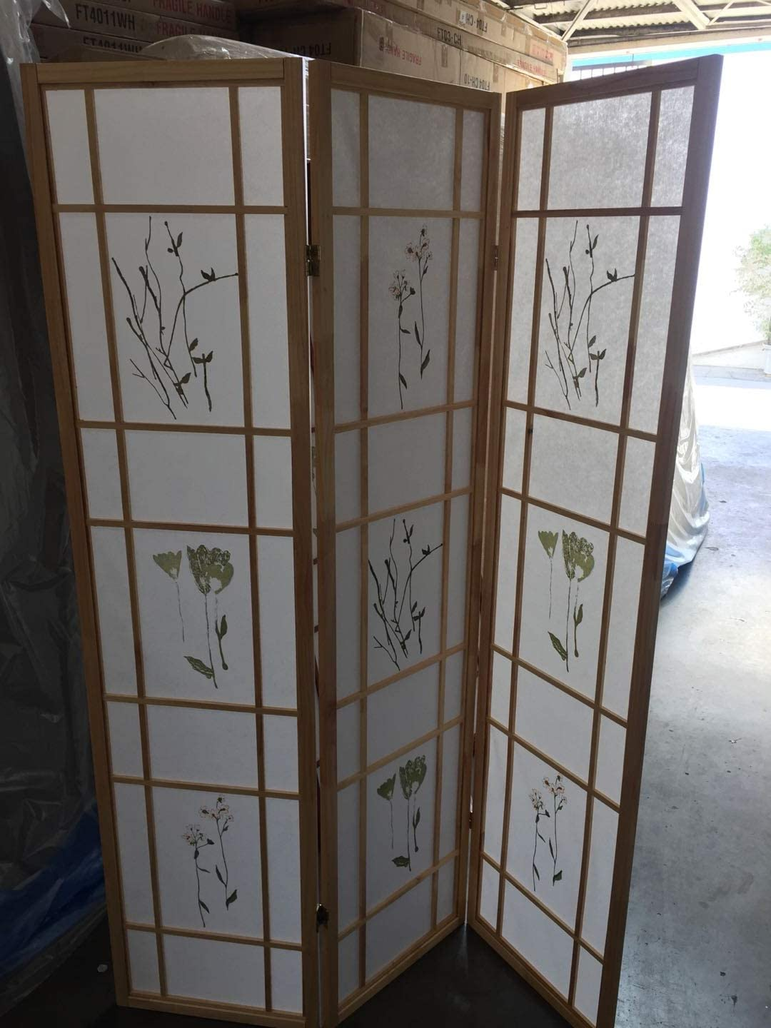Coaster Oriental Style Room Screen 3 Panel Natural