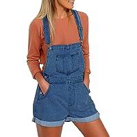Lookbook Store Women's Casual Denim Bib Overalls Shorts Cuffed Hem Stretch Jeans Shortalls