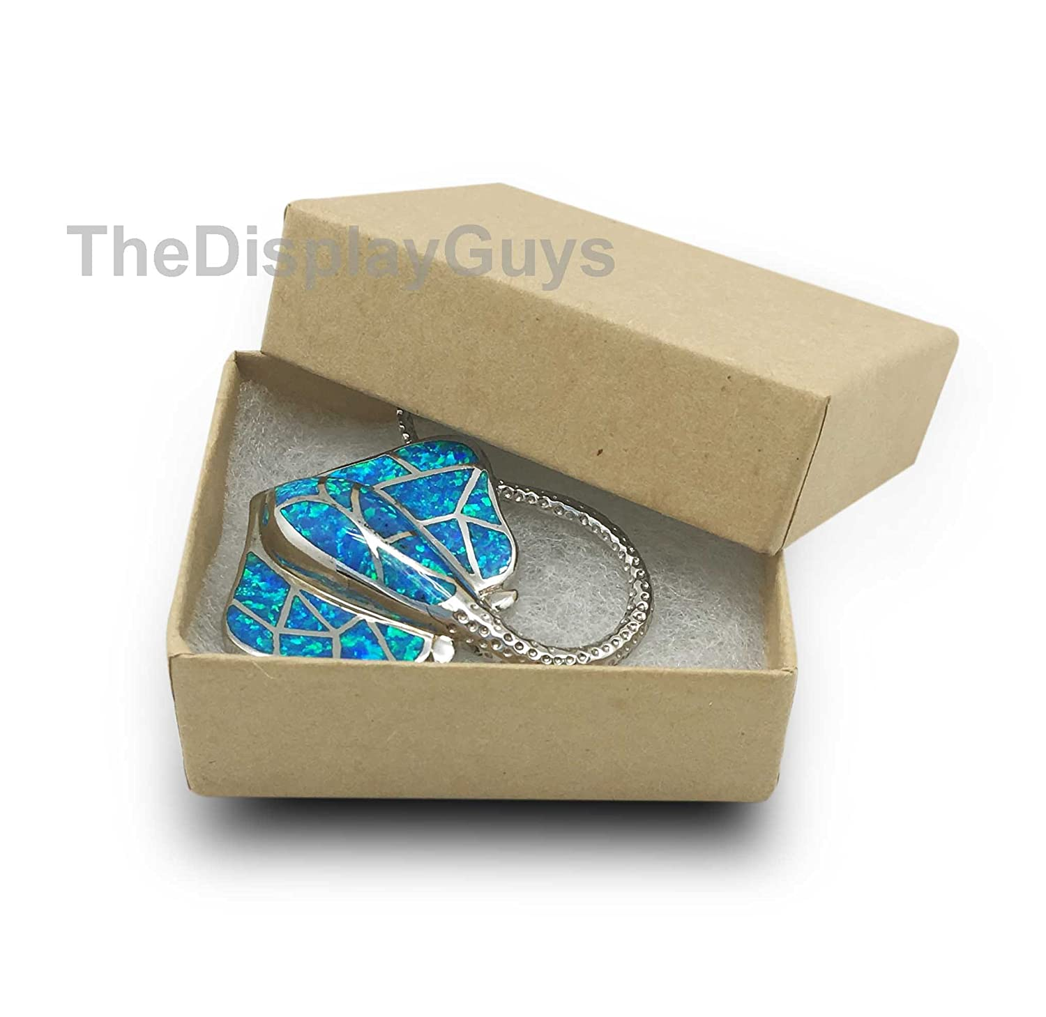 The Display Guys Pack of 25 Cotton Filled Cardboard Paper Kraft Jewelry Box Gift Case - Kraft (3 3/4x3 3/4x2 inches #34) JPI Display