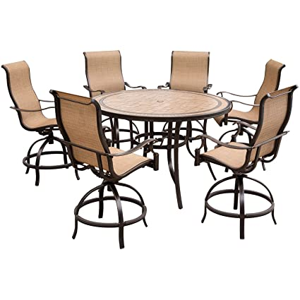 Hanover Monaco 7 Piece High Dining Set 6 Contoured Swivel Chairs A 56 In