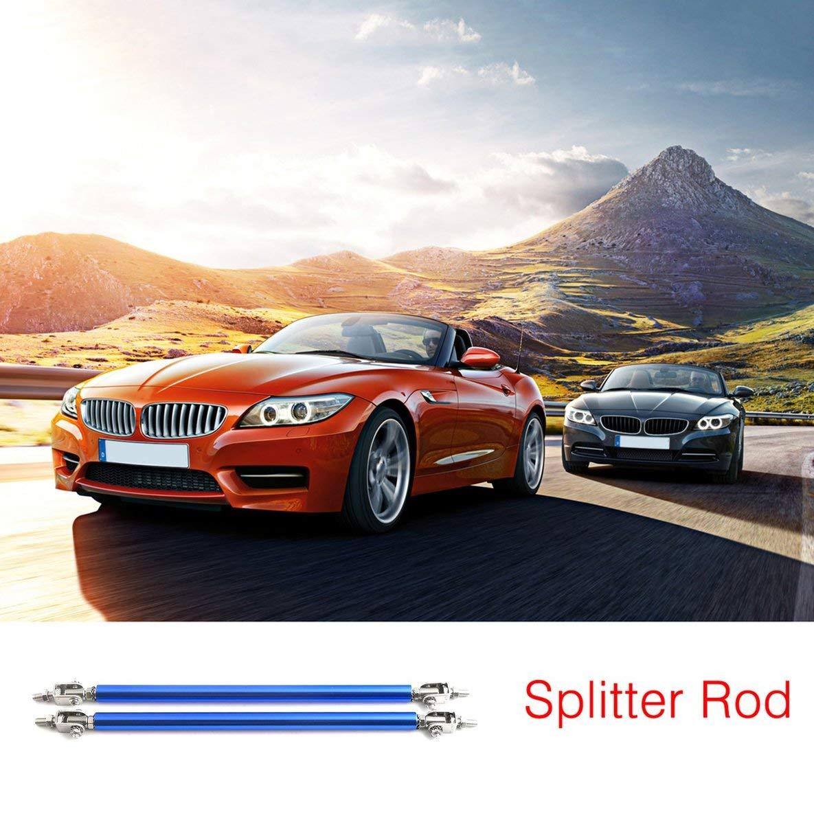 Romirofs 1 Pair Universal Car Front Back Bumper Splitter Lip Protectors Rod Stainless Steel Strut Rod Adjustable Support Bars