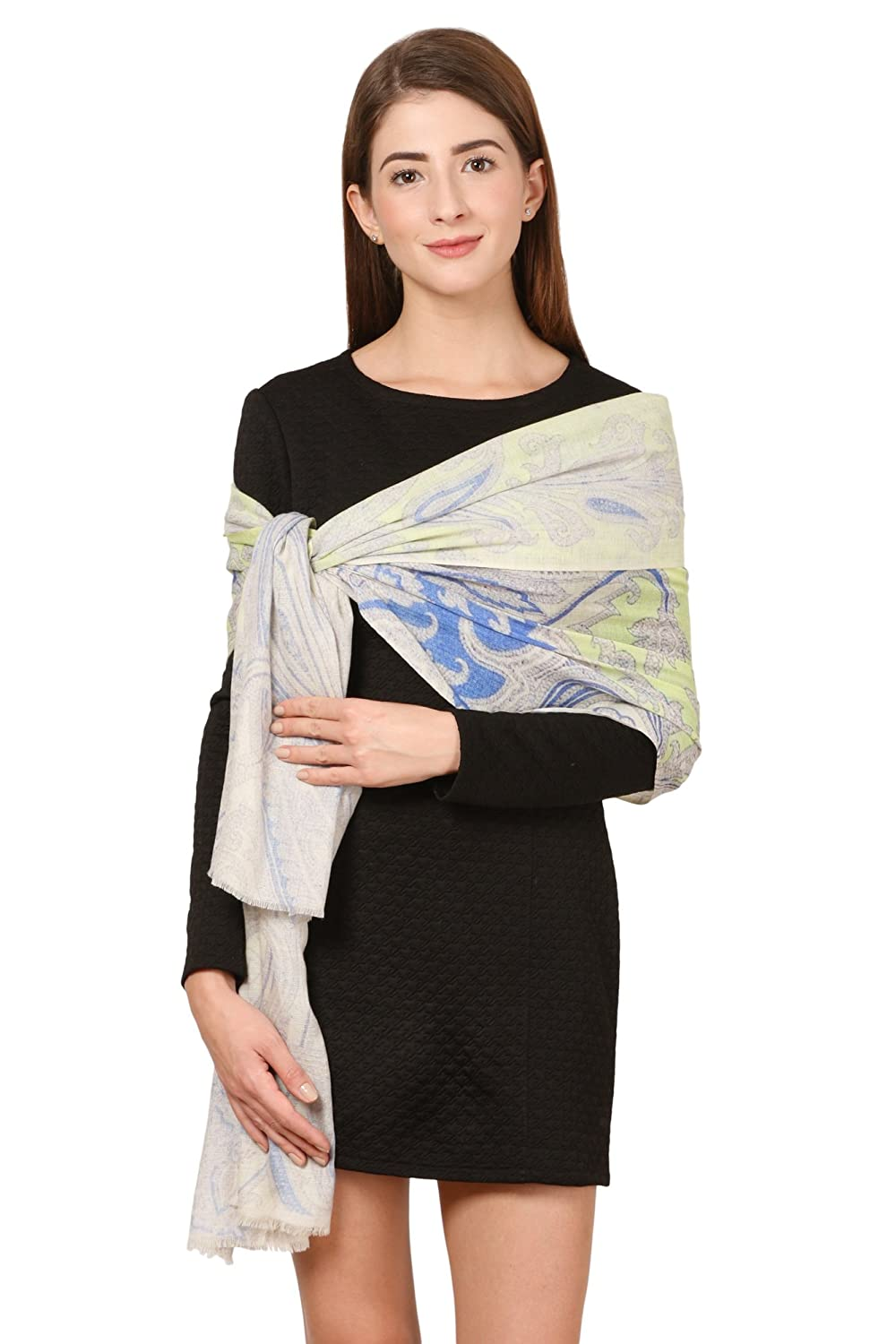Viscose CG-0007-PWRM, Sea Green Wool Modal Cafsew Colours Womens Stole