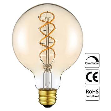 Vintage Edison Glühbirne LED Lampe Birne G125(φ 125mm) mit E27 ...