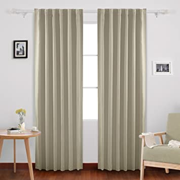 deconovo solid insulated thermal window blackout shades rod pocket and back tab curtains window coverings curtains
