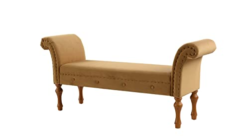 Jennifer Taylor Home Elise Roll Arm Entryway Bench, New Gold