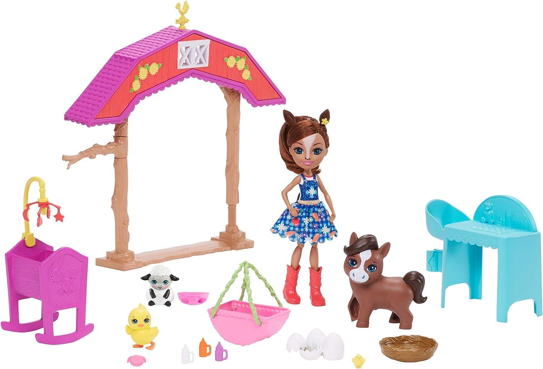 Enchantimals Muñeca Haydie Horse y su caballo Trotter en la Granja, incluye accesorios y animalitos (Mattel GJX23)