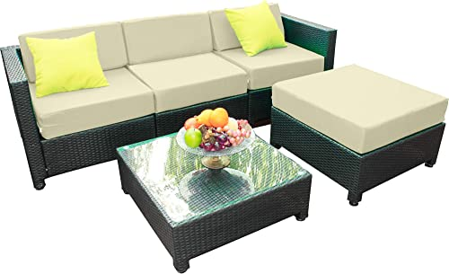 MCombo 5PC Outdoor Wicker Sofa Sectional Furniture Garden Patio Rattan Deluxe Aluminum Frame Chair Set Cushioned Seats Cream White 6080