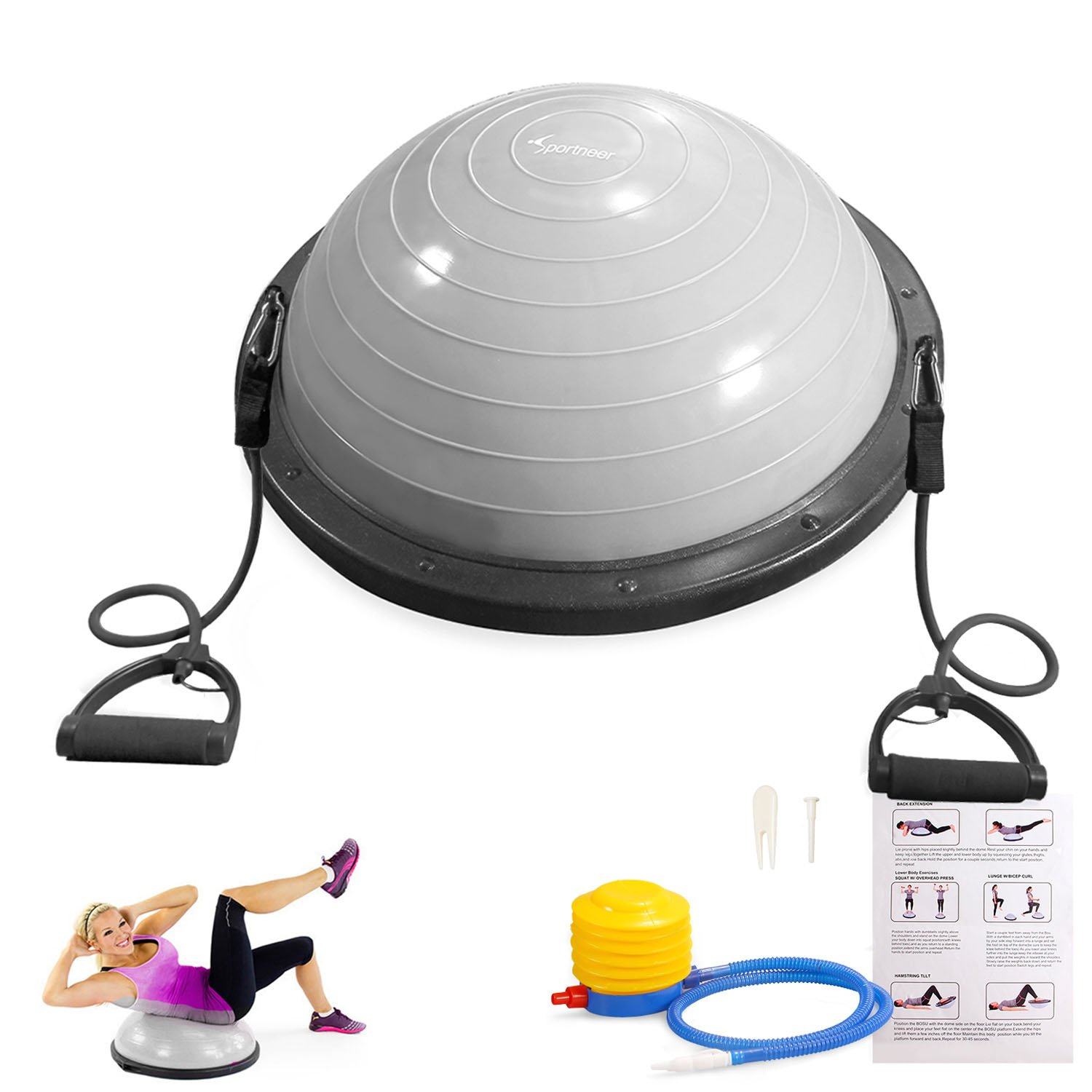 Sportneer Balance Ball Trainer For Yoga Fitness Strength Exercise Workout with Air Pump, Resistance Bands