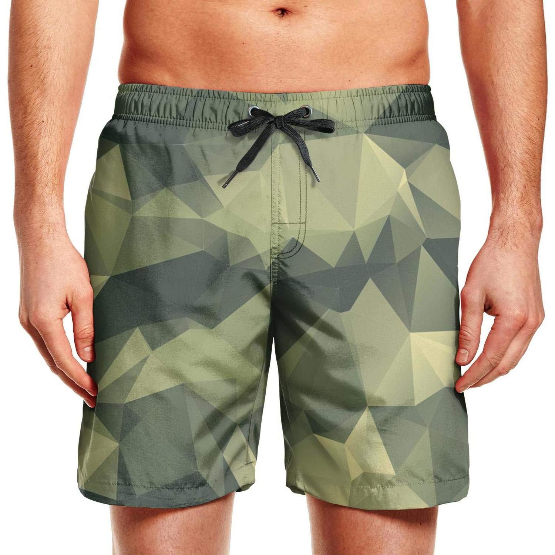 Mens Swim Green Military Diamond camo Quick Dry Brief Adjustable Holiday Shorts