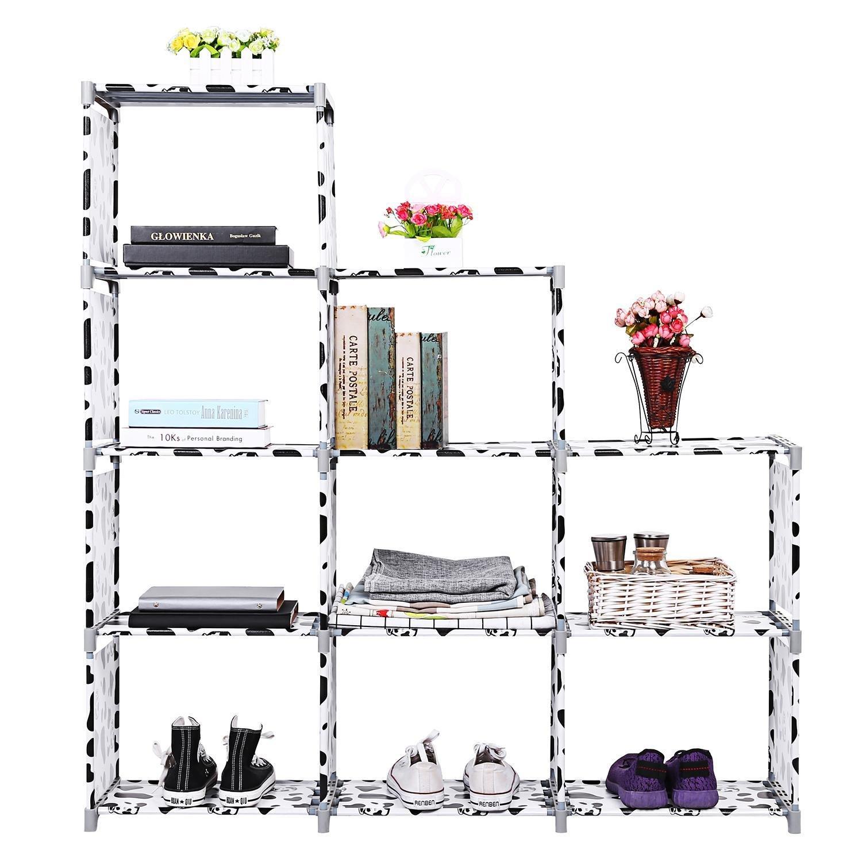 Kaluo 48.8'' 4 tier 8-cube DIY Open Bookcase Bookshelf DIY Cube Storage Shelves Unit for Children/Kids [US Stock] (Black White 9 grids)