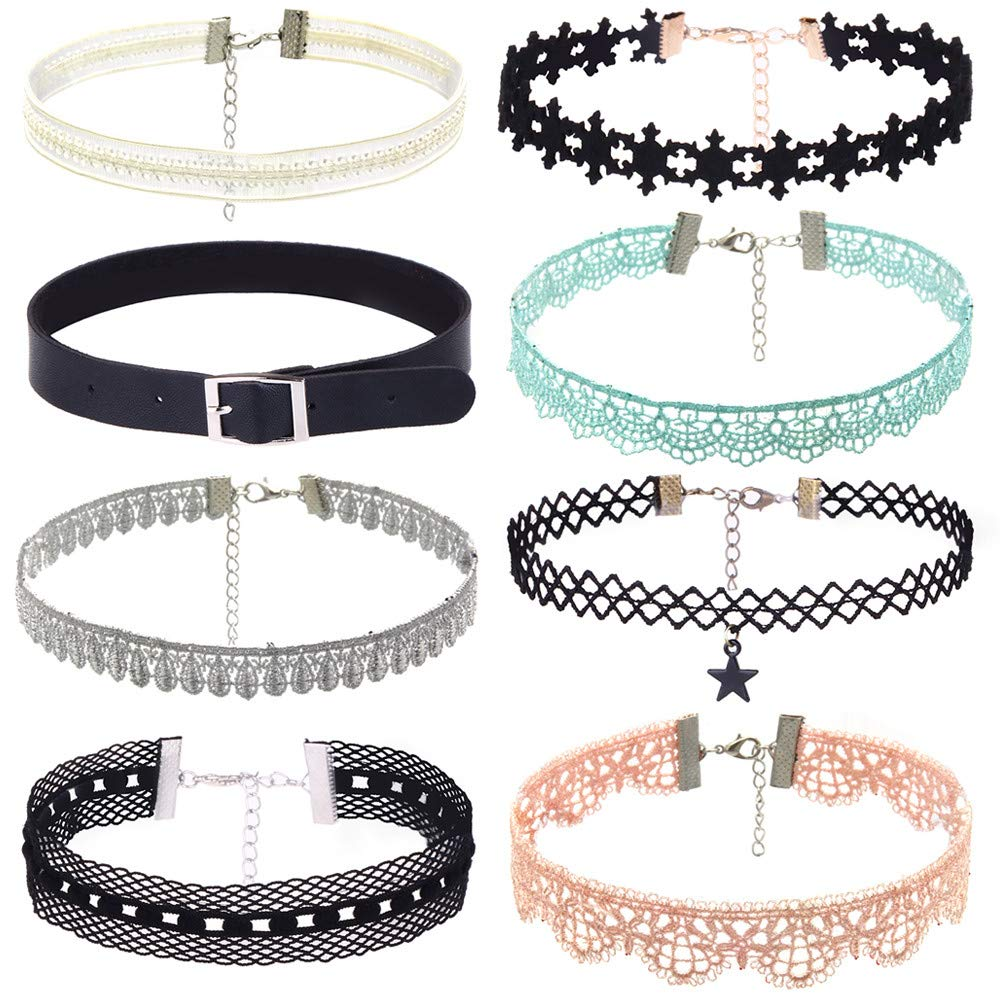 Fashion Necklace, Hoshell 8 PCS Clearance Choker Necklaces Black Lace Velvet Charm Stretch Gothic Tattoo Chokers Necklace Set for Women Girls (A)