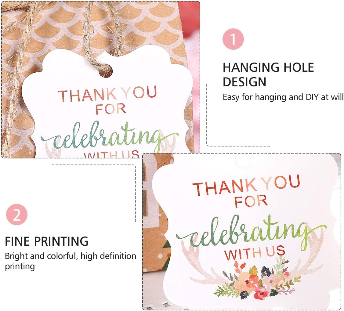 Gift Tags Thank You for Celebrating with Us Pattern with Hemp Rope for Thankgiving Party Favor 50pcs