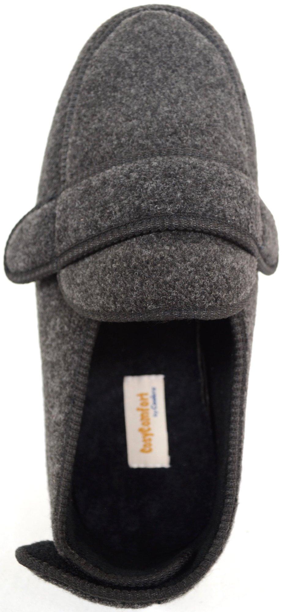 ABSOLUTE FOOTWEAR Mens Orthopaedic/Extra Wide Fit Adjustable Slipper Boot/Slippers - Grey - 10 US by ABSOLUTE FOOTWEAR (Image #6)