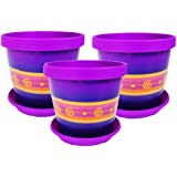 Lot de 3 pots de fleurs avec soucoupe - 17 cm - 6,7 cm-Violet