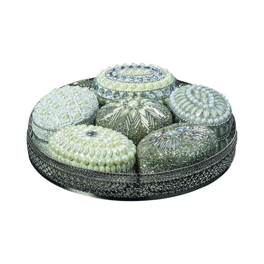 Whole House Worlds The White Nights Jewelry Boxes and Tray, Set of 7, Hand Crafted, Beaded, Velvet Lined, Mirror Inset Round Metal Tray with Open Work Rim, 7 3/4 inches Diameter