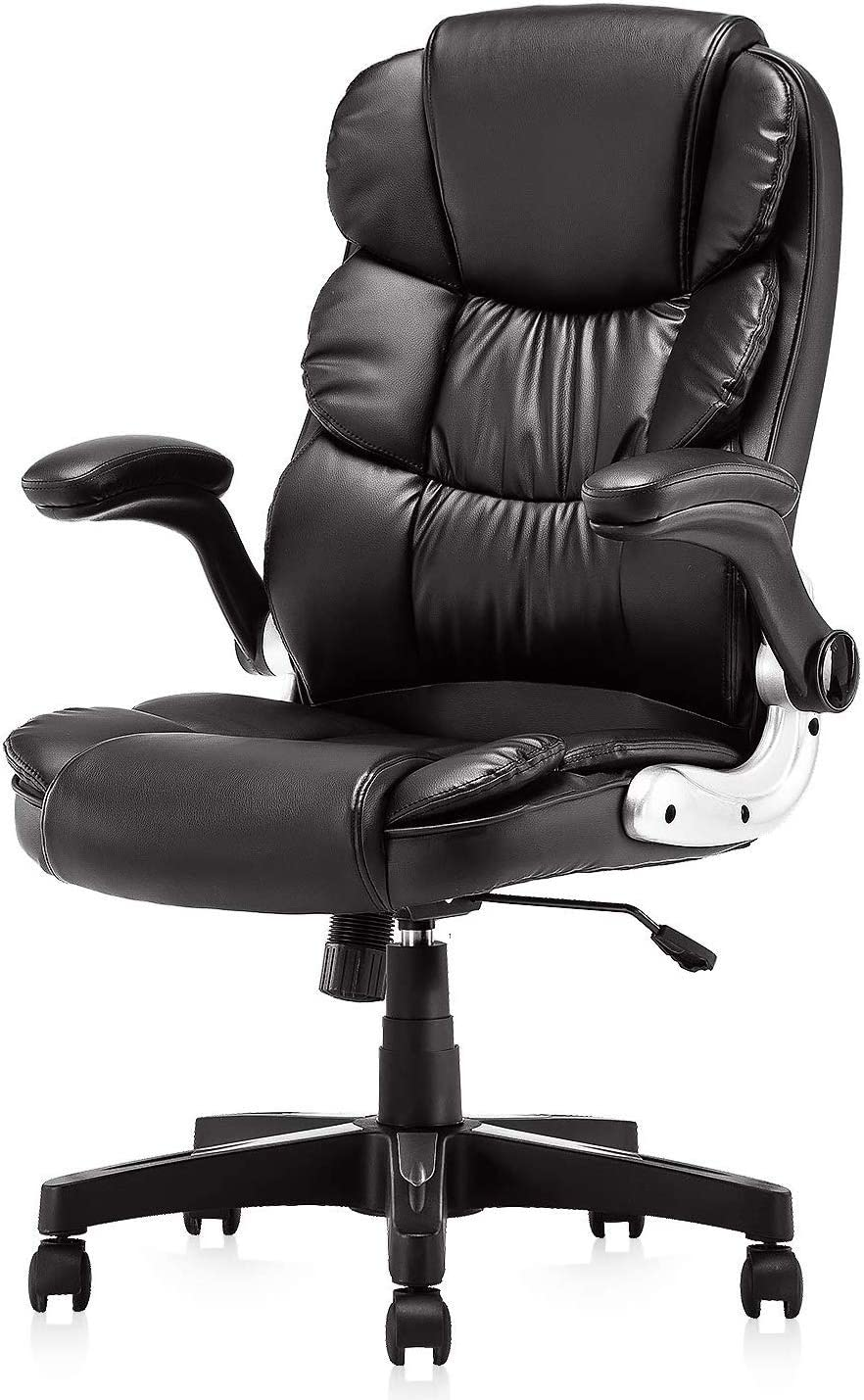 KERMS High Back Office Chair PU Leather Executive Desk Chair with Padded Armrests,Adjustable Ergonomic Swivel Task Chair with Lumbar Support black2