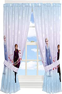"Franco Kids Room Window Curtain Panels with Tie Backs Drapes Set, 82"" x 63"", Disney Frozen 2"