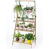 Bamboo 3-Tier Hanging Plant Stand Planter Shelves Flower Pot Organizer Storage Rack Folding Display Shelving Plants Shelf Uni