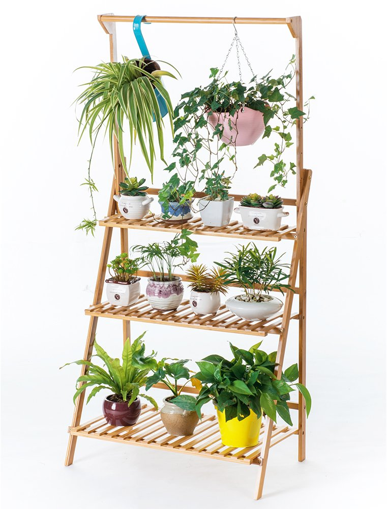 Bamboo 3-Tier Hanging Plant Stand Planter Shelves Flower Pot Organizer Storage Rack Folding Display Shelving Plants Shelf Unit Holder by COPREE