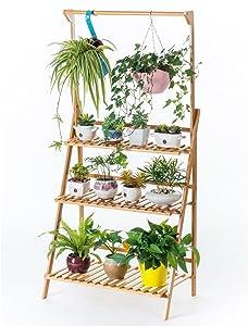 Bamboo 3-Tier Hanging Plant Stand Planter Shelves Flower Pot Organizer Storage Rack Folding Display Shelving Plants Shelf Unit Holder