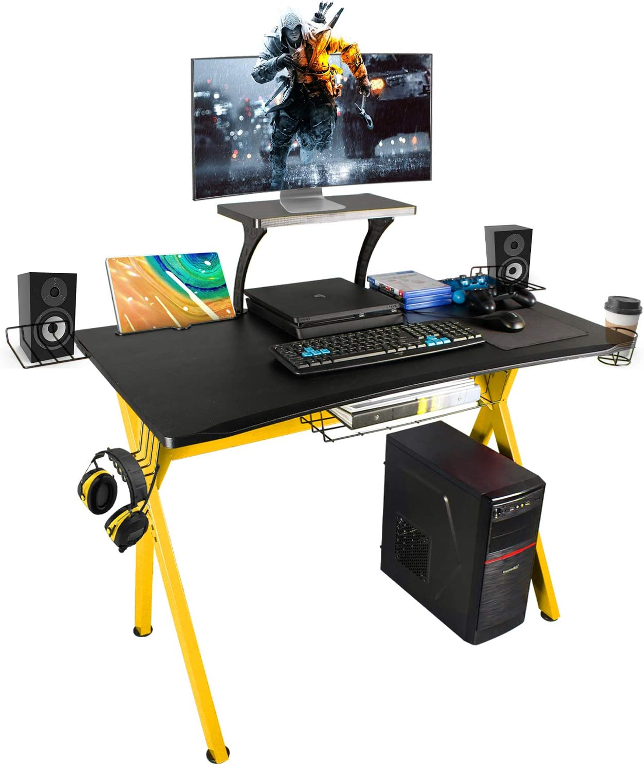 "LAZZO X Type Gaming Desk 41"" Game Table Home Computer Desk with Display Support Plate, Cup Holder and Headphone Hook,Gamer Workstation, Curved Front Desktop,Yellow & Black Design(41"" Wx23.5 D)"