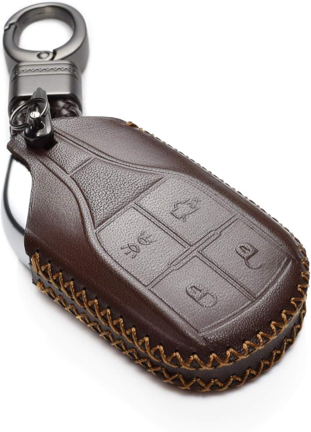 Levante Vitodeco Genuine Leather Keyless Smart Key Fob Case Cover with Key Chain for Maserati Ghibli Quattroporte Light Button, Brown
