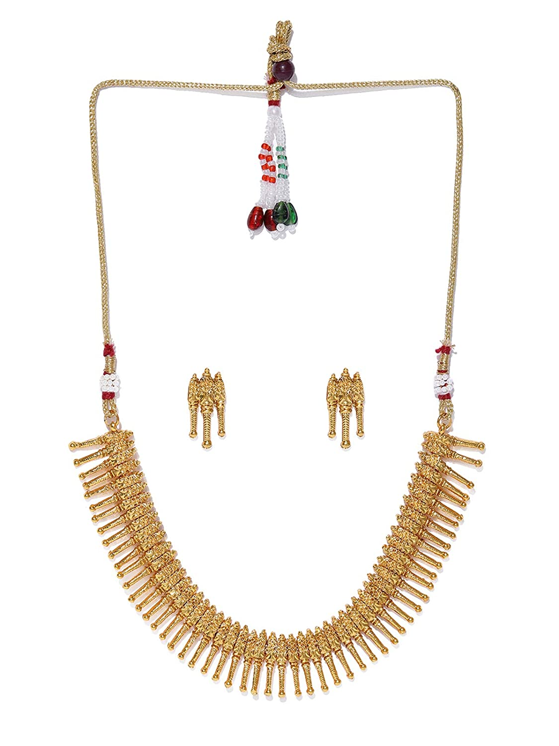 Gold Tone Traditional Choker Necklace Set For Women