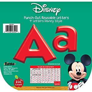 Eureka Back to School Disney Red Mickey Mouse Clubhouse Punch Out Deco Letters Classroom Decorations, 216pc, 4''