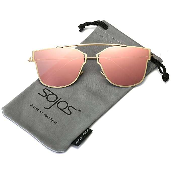 SojoS Klassische Doppelte Flex Speicher Metall Brücken Flieger Verspiegelt Linsen Herren Damen Sonnenbrille SJ1040 mit Gold Rahmen/Rosa Linse KXFlyG9Yv