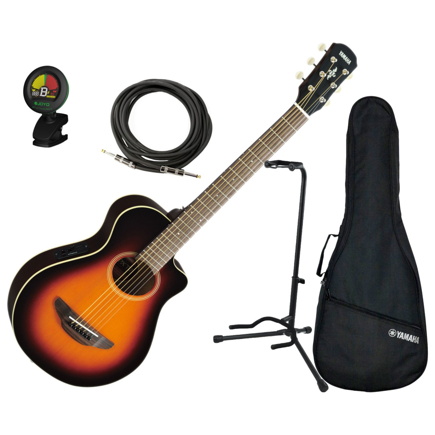 Yamaha APXT2 OVS 3/4 Scale MINI Acoustic Electric Guitar Old Violin Burst w/ Gig Bag, Stand, Tuner, and Cable Unknown APXT2 OVS BUNDLE