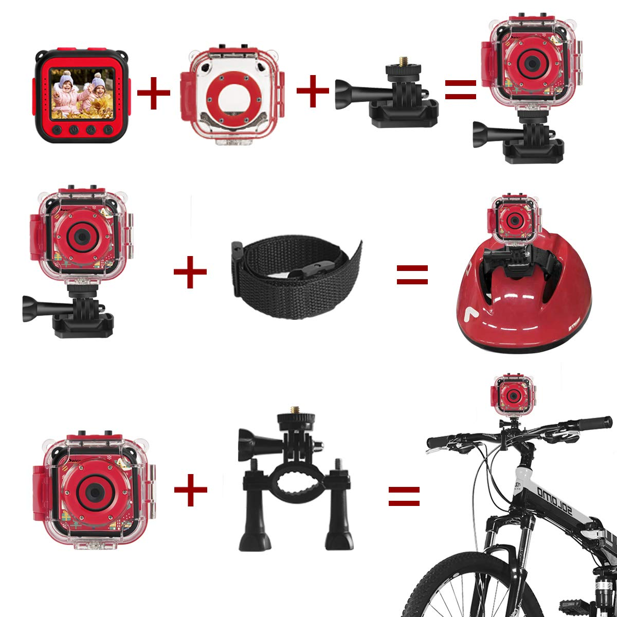 Prograce Kids Camera Underwater Waterproof Camera Camcorder for Boys Girls 4X Digital Zoom 3-Level Volume Adjustment(Red) by Prograce (Image #6)