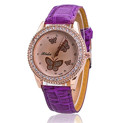 Amazon.com: Diamante Shinning Colored Mariposas Mujer Reloj ...