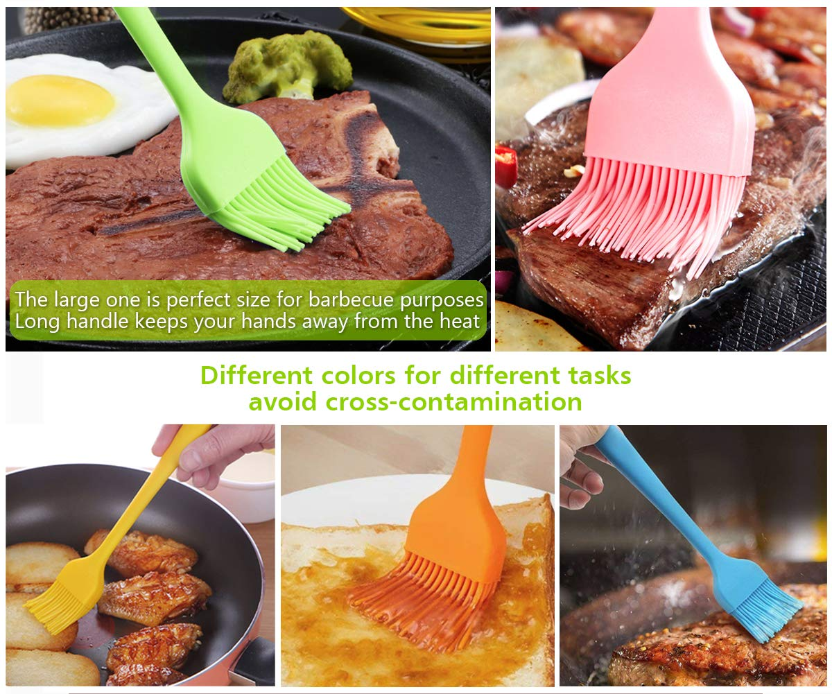 Silicone Basting Pastry Brush Spread Oil Butter Sauce Marinades for BBQ Grill Baking Kitchen Cooking, Baste Pastries Cakes Meat Sausages Desserts, FDA Approved, Dishwasher safe 6 [PREMIUM SILICONE AND HIGH TEMPERATURE RESISTANT] The basting brush is made of high-quality food grade silicone which is FDA approved and BPA free. You could apply silicone basting brushes without any concerns. The pastry brush resists temperature up to 446℉/230℃. So you can baste food even when grilling and the basting brushes won't melt or shrink. Our basting brush has a handle built with solid internal steel core that increase its durability. [ONE-PIECE AND ERGONOMIC DESIGN] The basting brush is very secure, owing to seamless design. Unlike other bristle brushes, the silicone bristles will not break or shed in your food. The special design avoids the baste brush head falling off or getting loosen when spreading. No bacteria will be stuck in the silicone basting brush. No stains would occur. The handle provides comfortable firm grip making basting easy. Our pastry brushes stand out from cheap silicone brushes on the market. [PERFECT FOR BASTING AND PASTING] With 85 bristles (5raw x 17 bristles/raw) on the big brush, 52 bristles (4raw x 13 bristles/raw) on the 3 smaller ones, the silicon basting brushes are able to hold good amount of liquids. High tensile strength makes the pasting brushes baste and spread liquids evenly. The soft and flexible silicone bristles are suitable for delicately pasting rolls/cakes without dragging the dough or scratching the pan. Works great on meats, pastries, cakes, desserts and more!