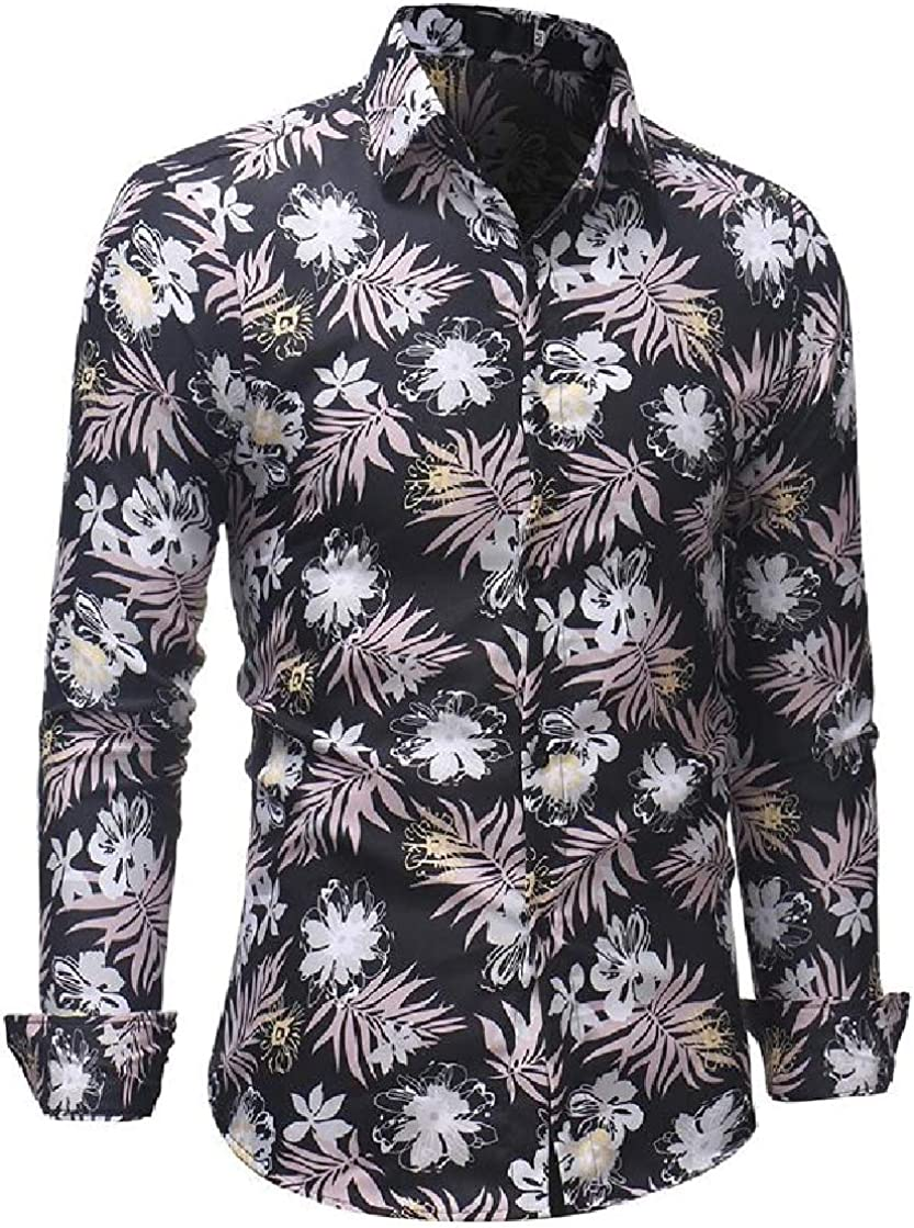 Etecredpow Mens Button Down Slim Fit Printed Casual Long Sleeve Shirts