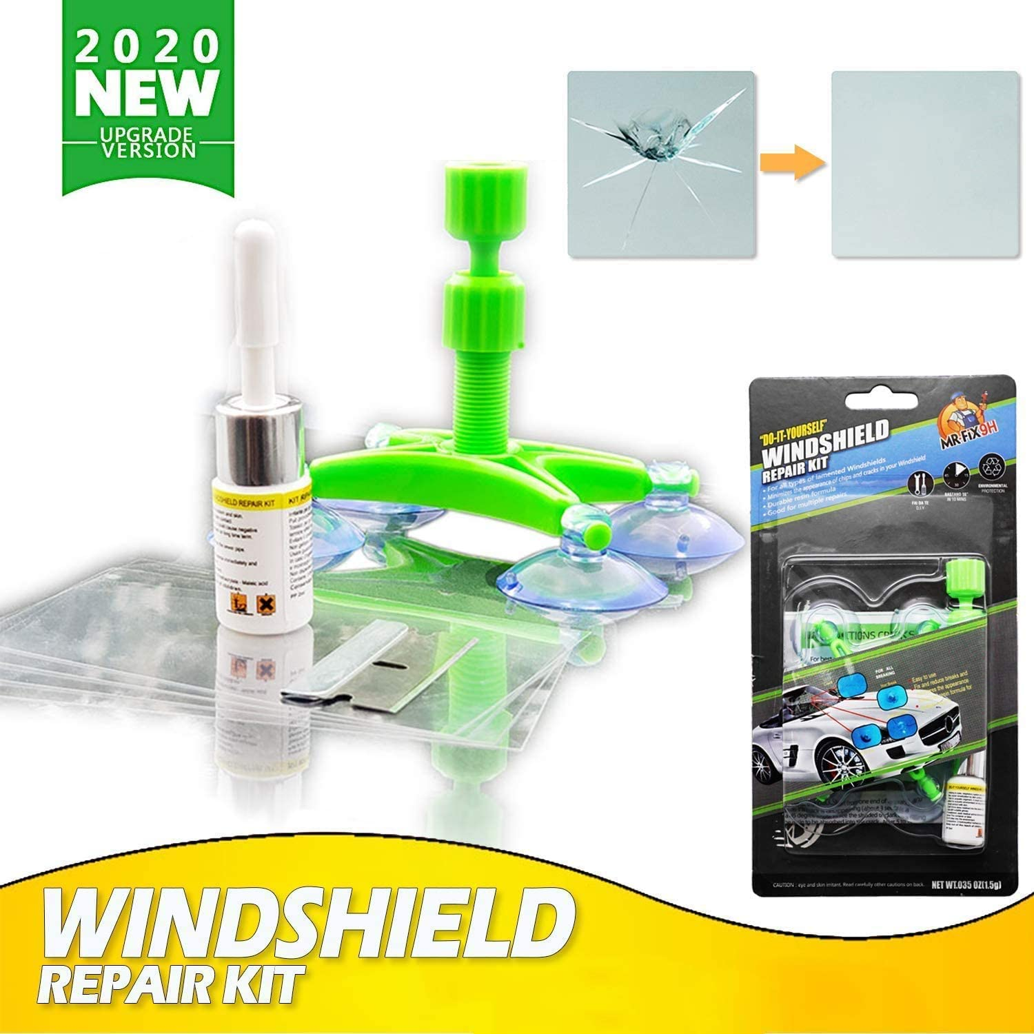 Windshield Repair Tool Car Windscreen Repair Kit With Windshield Repair Resin For Car Glass Windscreen Crack Chips Scratches Cracks Bull S Eyes And Stars Auto