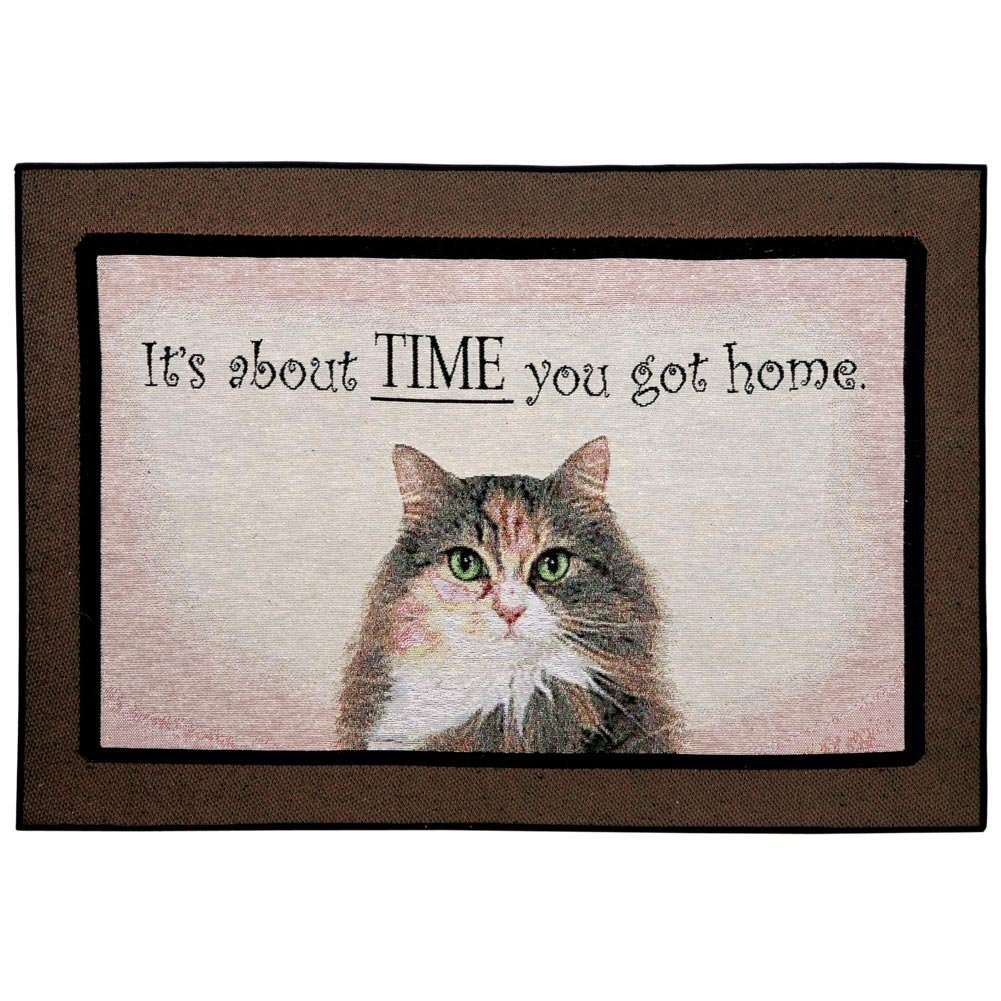 WHAT ON EARTH Funny Doormat - It's About Time You Got Home Cat Rug