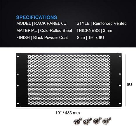 19 Pack of 2 Steel 483 mm PBPS19012LG2 Grey 7U PBPS19012LG2 311 mm Panel Standard 19 Racks Spacer Blank