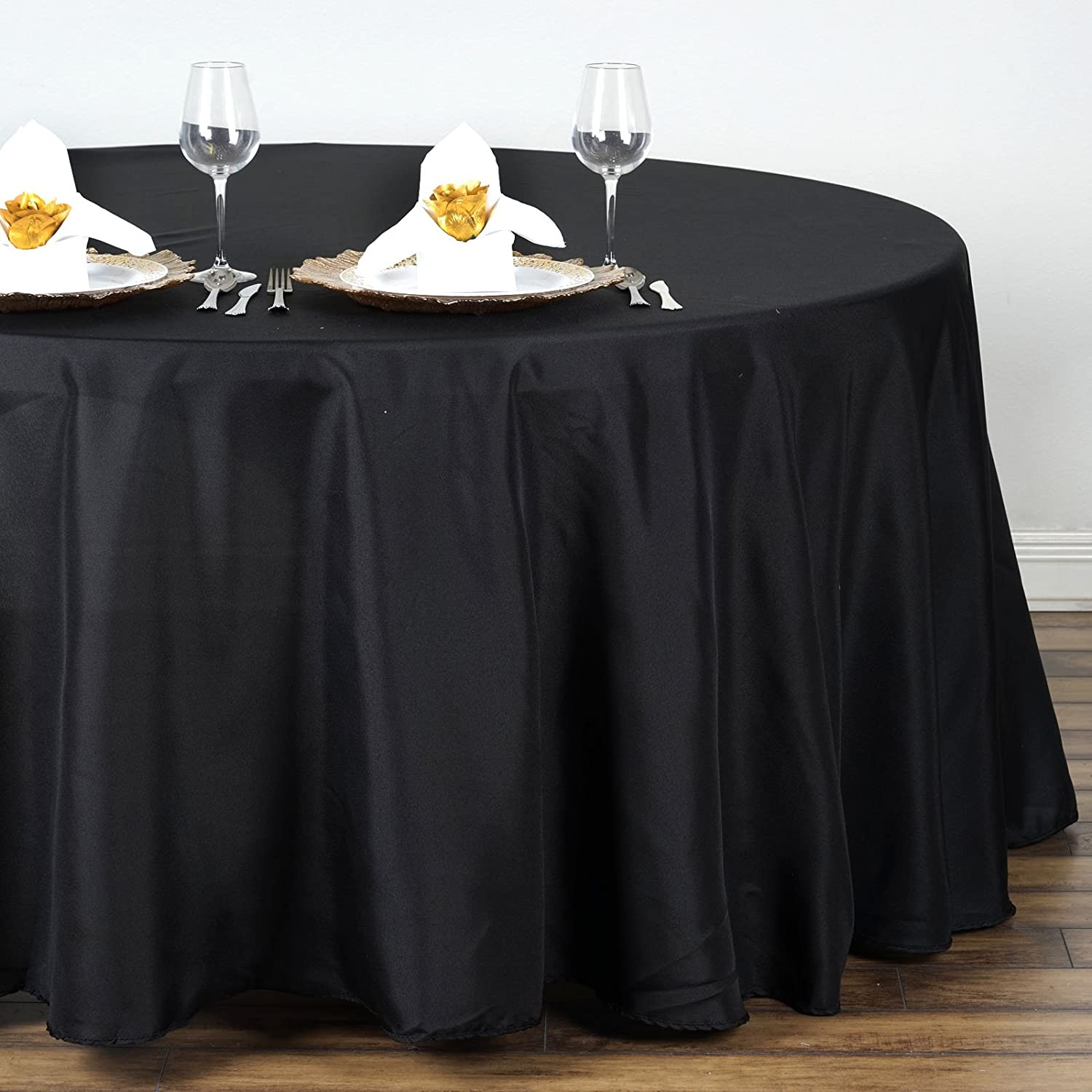 BalsaCircle 132-Inch Black Round Polyester Tablecloth Table Cover Linens for Wedding Party Events Kitchen Dining