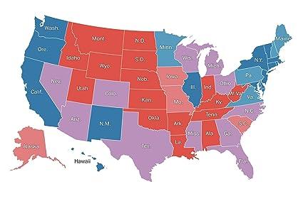 Michigan On Usa Map.Amazon Com Home Comforts Laminated Map Us State Map Hillary