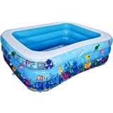 """AsterOutdoor Inflatable Swimming Pool Full-Sized Above Ground Kiddle Family Lounge Pool for Adult, Kids, Toddlers, 83""""x 59""""x"""