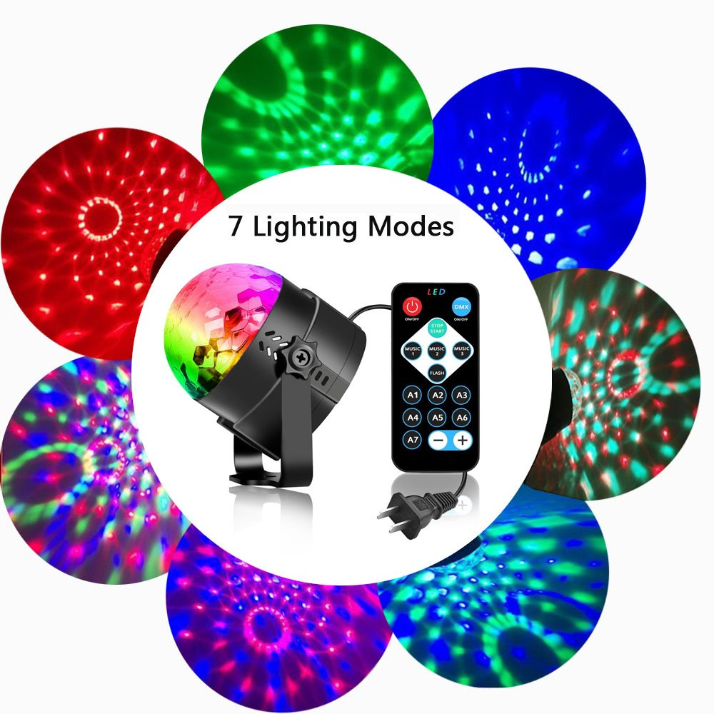 Disco Ball Strobe Light Party Lights Disco Lights Karaoke Machine 3W Dj Light LED Portable 7Colors Sound Activated Stage Lights for Festival Bar Club Party Outdoor and More (with Remote) by bestcan (Image #5)