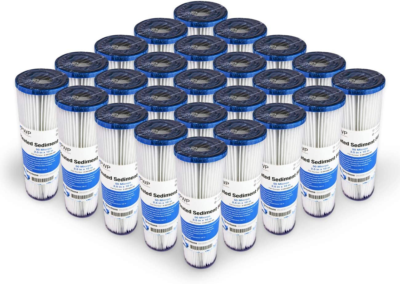 Pro Water Parts Pleated Poly Sediment Water Filter Cartridge Standard 2.5x10 50 Micron 25 Pack