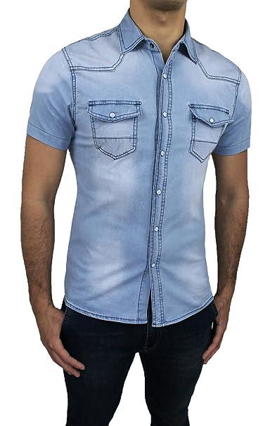 online retailer 50266 09803 Mat Sartoriale Camicia Jeans Uomo Denim Chiaro Slim Fit ...